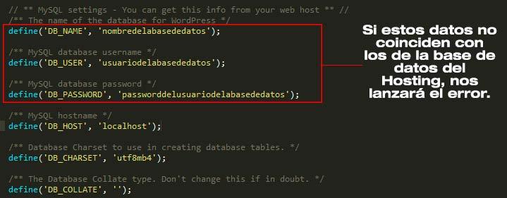 Datos wp-config