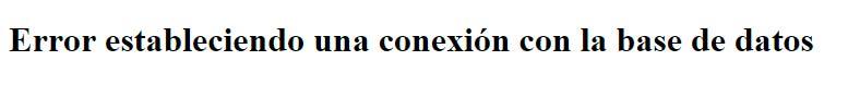 Error estableciendo conexión con la base de datos