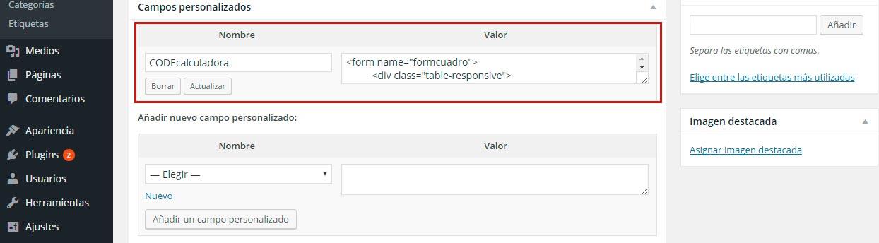 Insertar código javascript en WordPress