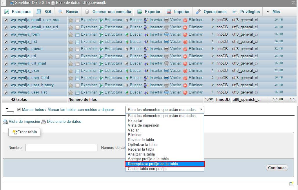 Reemplazar prefijo tabla base de datos