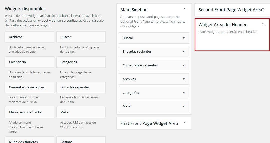 Nueva ubicación de widgets en wordpress