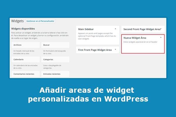 Añadir áreas de widget personalizadas en WordPress