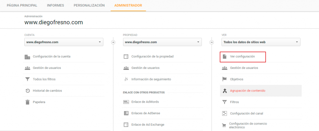 Administrador Google Analytics