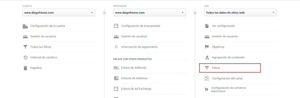Filtros Google Analytics